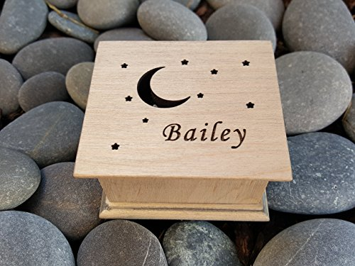 Music box, custom made music box, handmade music box, moon and stars, personalized gift, personalized music box, simplycoolgifts