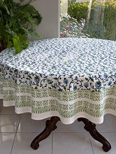 - Saffron Marigold Blue White Floral Tablecloth Moonlit Taj | Hand Printed Washable Cotton Voile | Turquoise Flower Intricate Elegant Damask Indian Banquet Table Cover 90 Round