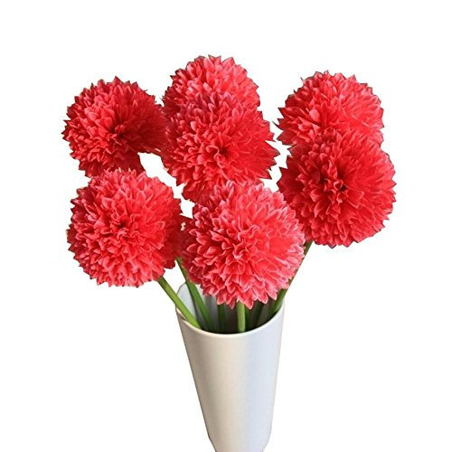 Silk Petals Baby Dresses - Reasoncool Single Head Small Hydrangea Onion Lavender Ball Artificial Flower (Red)
