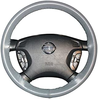 product image for Wheelskins Genuine Leather Grey Steering Wheel Cover Compatible with Volvo Vehicles -Size AXX
