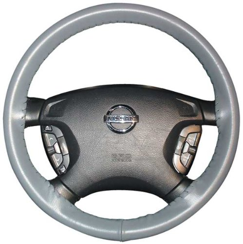 [Wheelskins Chevy Genuine Leather Grey Steering Wheel Cover-Size AXX] (Chevy Tracker Wheels)