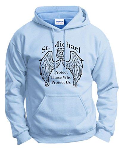 Police Officer Gift St. Michael Patron Saint Shield Hoodie Sweatshirt XL LtBlu