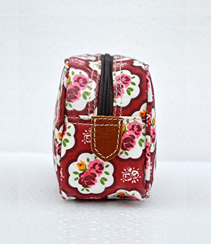Red beauty case, motivo rose, stile shabby chic, laminato, borsa, finiture in pelle, make up o per cosmetici, borsello.