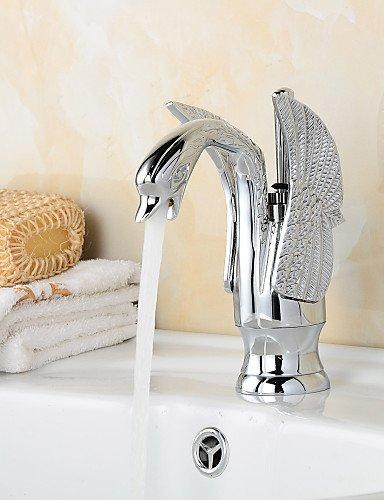 Chrom-Finish Zeitgen?ssische Schwanform Badezimmer Waschbecken Wasserhahn (kurz) - Splitter