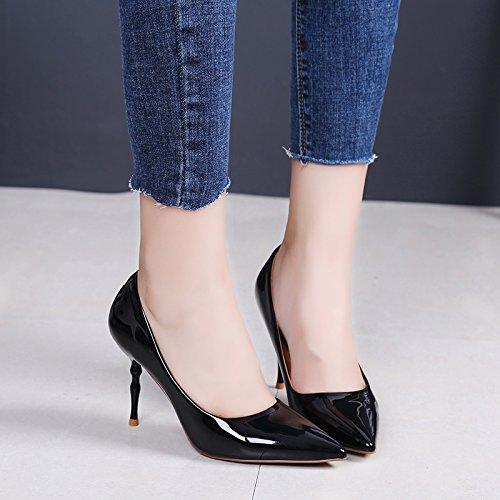 KPHY-El Periodo De Primavera Y Otoño Tip Cuero Moda Con Una Multa Tacones Altos Superficial Boca Sexy Zapatos Zapatos De Trabajo Desplazamientos black