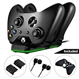 xbox one remote controller - Opard Xbox One Controller Charger Station Game Kit with Dual Charging Dock with LED Indicator + 2x Rechargeable Battery Packs + Earphones + Controller Case & Thumb Grips for Xbox One/One X/One S