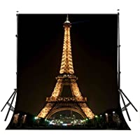 LYLYCTY 5×7ft Lights up the Night Paris Eiffel Tower Photography Backdrop Photo Studio Background Props wall-251