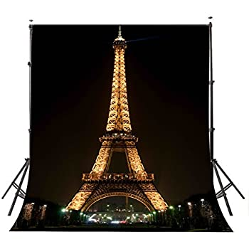 LYLYCTY 5×7ft Lights Up The Night Paris Eiffel Tower Photography Backdrop  Photo Studio Background Props Wall 251
