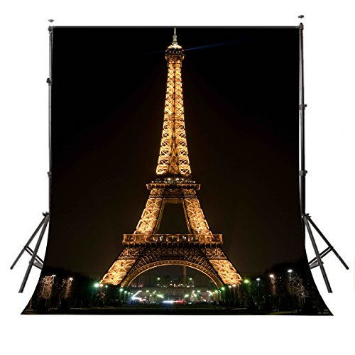 LYLYCTY 5×7ft Lights up The Night Paris Eiffel Tower Photography Backdrop Photo Studio Background Props wall-251]()