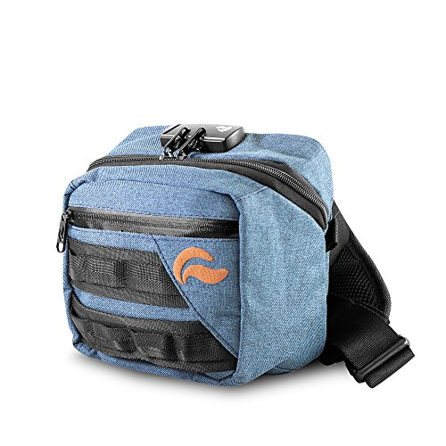 Skunk Kross Smell Proof Fanny Pack Hipster Bag w/Combo Lock (Navy Denim)