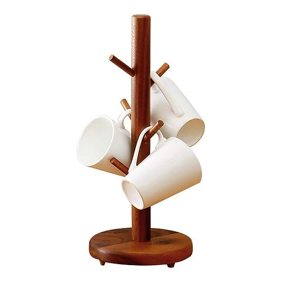 MYJ 6 Tazas Soporte/Soporte del árbol, Rubberwood Tazas Organizador del Ahorro de Espacio del Estante de la Cocina 38 * 16 * 16cm: Amazon.es: Hogar