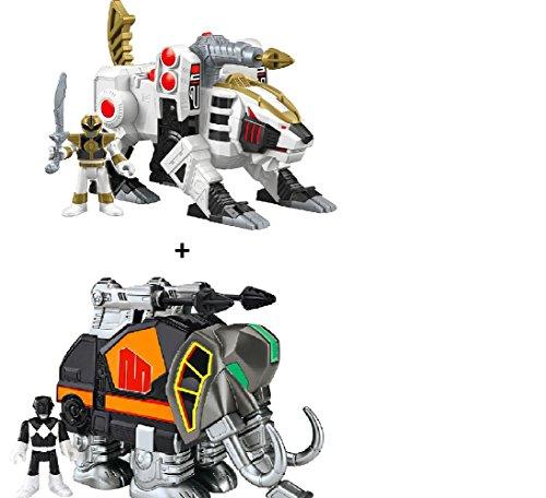 Imaginext Power Rangers Black Ranger and Mastadon + Imaginext Power Rangers White Ranger and Tiger Zord