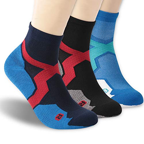 (Ankle Athletic Socks, ZEALWOOD Men Merino Wool Antimicrobial No-Show Compression-Fit Running Socks for Men and Women Low Cut Sports Socks 3 Pairs-Mix)