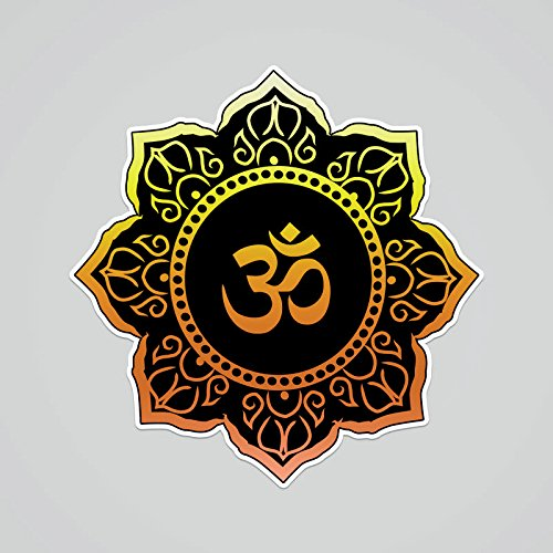 PD240 2-Pack OM Symbol Black Gold Flower Decal Sticker | 5.5-Inches By 5.4-Inches | Meditation Conciousness Religious Motivational Inspirational | Premium Quality Vinyl