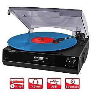 AMOS Tocadiscos USB con 3 Velocidades Vinilo Disco Retro LP Jugador Grabador Vinilo a MP3 Digital Convertidor con Altavoces Estéreo y Salida RCA + ...