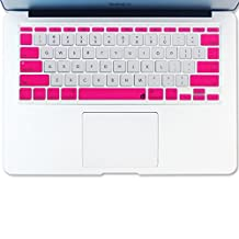 """Masino® Silicone Keyboard Cover Ultra Thin Keyboard Skin for MacBook Air 11"""" (Dual Color-Hot Pink and White)"""