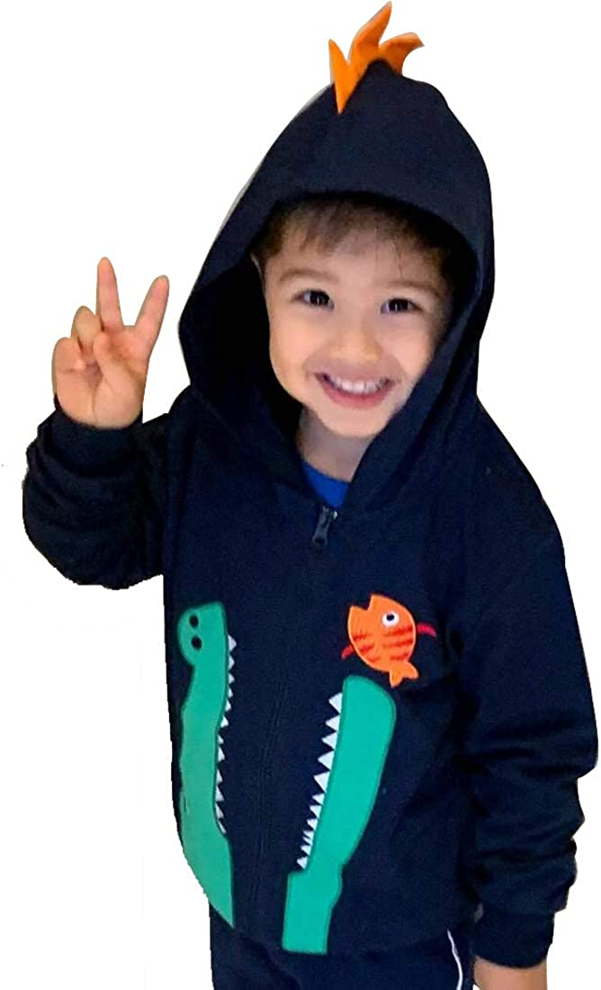 Luzlen Toddler Boy Hooded Jacket Kid Sweatshirt Dinasour Outwear Zipper Hoodie Coat 1T-7T