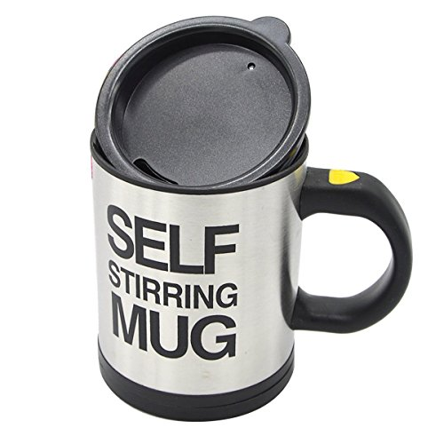 Self Stirring Mug Coffee Black Cup Stainless Steel Automatic Self Mixing ()