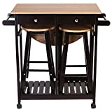 3PC Wood Kitchen Island Rolling Cart Set Dinning