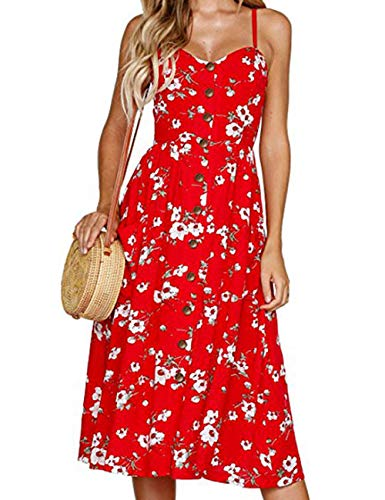 Juniors Holiday Dresses Summer - Casual Petite Midi Floral Boho Knee Length Flare Vacation Dress Red M