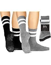 LA Active Grip Socks - 2 Pairs - Yoga Pilates Barre Ballet Non Slip Crew Hospital
