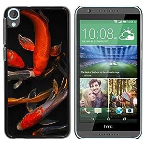 "For HTC Desire 820 Case , Koi Goldfish Estanque Dorado Rojo Negro"" - Diseño Patrón Teléfono Caso Cubierta Case Bumper Duro Protección Case Cover Funda"