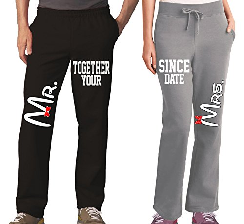 Mr Mrs Couples Pajama Pants & Bottoms - Matching Couple Outfits for Men & Women - Drawstring Sweatpants with Pockets - Family Pajamas for Him and Her - His Hers Sweat (Couples Outfit)