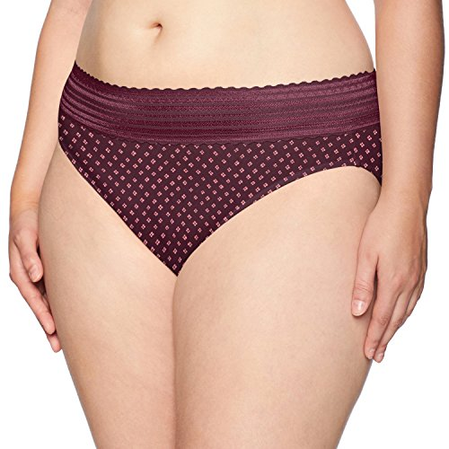 Warner's Women's Plus Size No Pinching No Problems Lace Hi Cut Brief Panty, Fractured Diamond Print, XL -