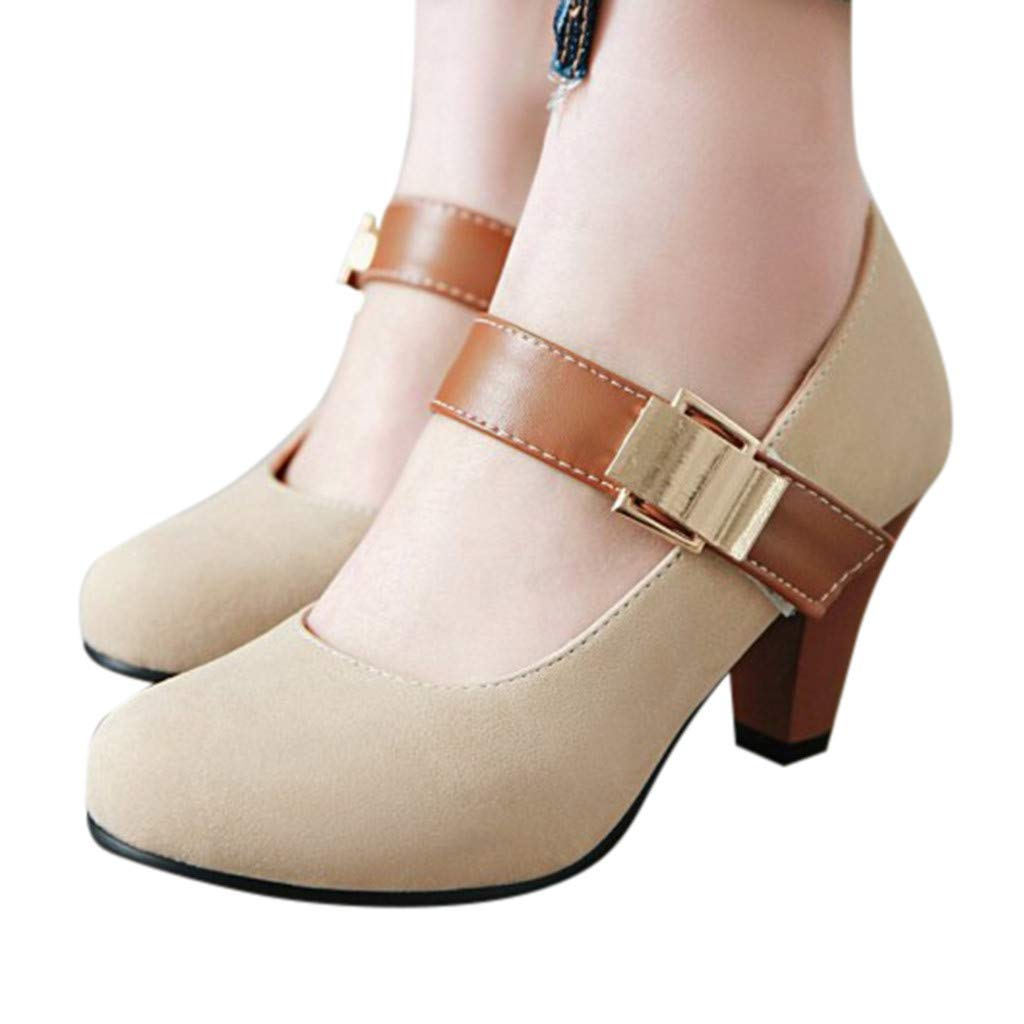 Womens Ankle Strap Pump Sandals Ladies Chunky Classic Round Toe Heels Working Buckle Shoes