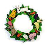 12 Inch Wool Felt Applique Wreath with Bunnies and Chicks