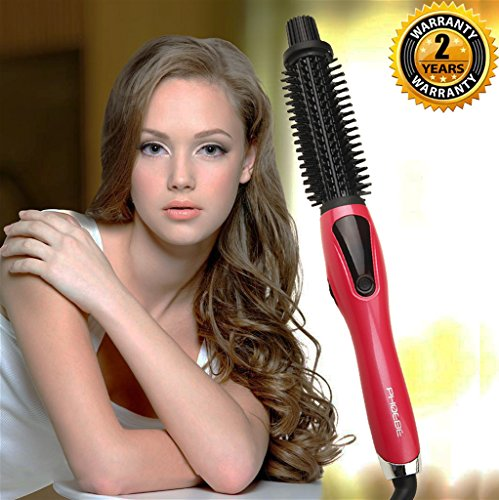 Curling Iron Brush, 1 Inch Dual Voltage Electric Hair Curler Brush, Professional Negative Ionic Ceramic Tourmaline Hot Curl Brush, 3 in 1 Anti-Scald Heating Brush, Styling Brush for Long Hair(Pink)