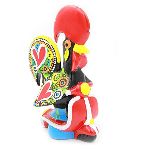 M Oliveira Hand-Painted Traditional Portuguese Ceramic Clay Decorative Rooster with Bike (Paintings For Sale Rooster)
