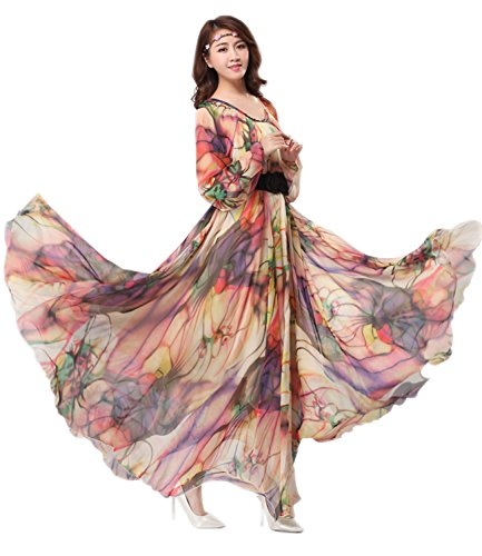 Medeshe Women's Chiffon Floral Holiday Beach Bridesmaid Maxi Dress Sundress (Large, Tropical Color-Long Sleeve)