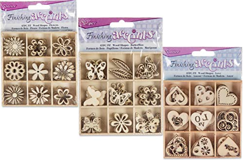 135 Piece Butterfly Heart Flower Theme Mini Laser Cuts Wood Shapes Bundle of 3 Packs 45 for Spring Valentine DIY Signs Picture Frames Crafts