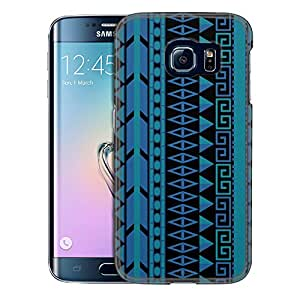Samsung Galaxy S6 Edge Case, Slim Snap On Cover Aztec Vertical Blue Aqua on Black Case