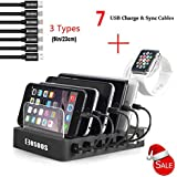 COSOOS Charging Station with 5 l Phone Cables,1 Type-C,1 Micro B Cable,lWatch Holder,6-Port USB Charger Station,Charging Docking Stand,Best Electronics Organizer for Multiple Devices,Phones,Tablets