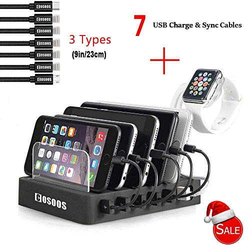 - COSOOS Charging Station with 5 l Phone Cables,1 Type-C,1 Micro B Cable,lWatch Holder,6-Port USB Charger Station,Charging Docking Stand,Best Electronics Organizer for Multiple Devices,Phones,Tablets