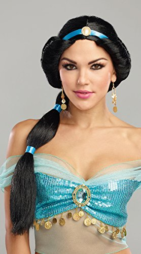 Princess Jasmine Adult Costumes (Dreamgirl Women's Harem Princess Wig, Black, O/S)