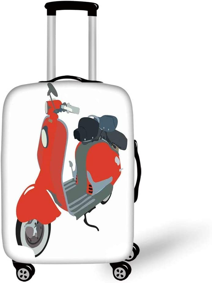Travel Luggage Cover Suitcase Protector,1960s Decorations,Motor Scooter Doodle in Nice Sixties Style Driving Motorcycle Urban Cartoon Clipart Decorative,,for Travel S