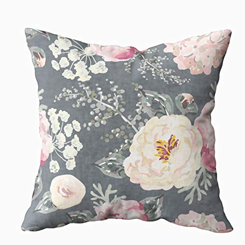 (KIOAO Pillowcase Standard 16X16Inches Square for Cushion Home Decorative, Pink Peonies Gray Leaves The Black Background Pattern Romantic Garden Pillow Covers Printed with Both Sides of Cotton)