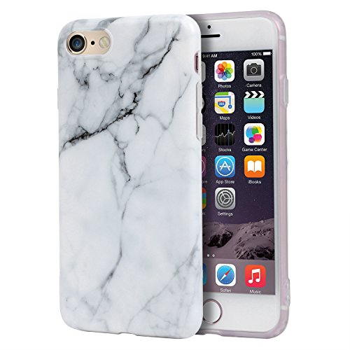 Price comparison product image iPhone 6s Plus Case, Imikoko™ Hard Case Print Crystal for iPhone 6s Plus (5.5 inch Display) - White Marble Pattern Slim Fit Snap On Hard Shell Back Case For iPhone 6/6S Plus (White Jade)