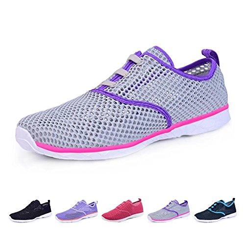 BOKEN Women's Quick Drying Aqua Water Shoes Lightweight Sneakers?Gray&Purple&Pink&White-37