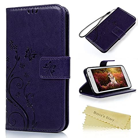 S5 Case,Galaxy S5 Wallet Case - Mavis's Diary Premium PU Leather with Fashion Floral Butterfly Pattern Magnetic Clasp Card Holders Flip Cover for Samsung Galaxy S5 I9600 with Hand Strap (Flip Cover Cases For Galaxy S5)