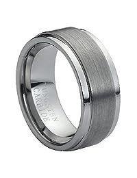 9mm Brushed Center Step Edge Tungsten Carbide Wedding Band