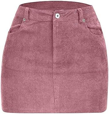 ADESHOP, Mini Falda de Pana Sexy de Verano para Mujer, Rosa ...