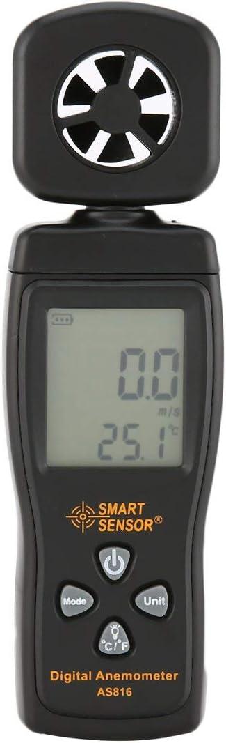 Ballylelly Smart Senor AS816 An/émom/ètre num/érique Thermom/ètre Vent Air Jauge de Vitesse M/ètre Windmeter Testeur de Temp/érature Poratable Mesure de