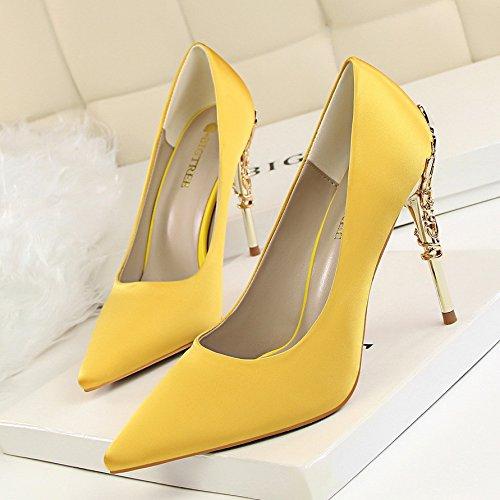 Chaussures Lgre Mariage 38 Damas Et Bout Lger Talons Jaune De Hauts lgant Fin Buse Mtal Pointu Avec q6gXxwB7