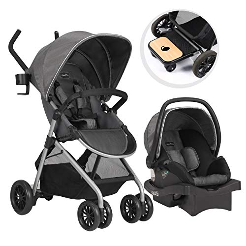 - Evenflo Sibby Travel System, Stroller, Car Seat, Ride-Along Board, Oversized Storage Basket, 3-Panel Canopy, Multiple-Position Recline, Easy to Fold and Store, Materials, Highline Gray