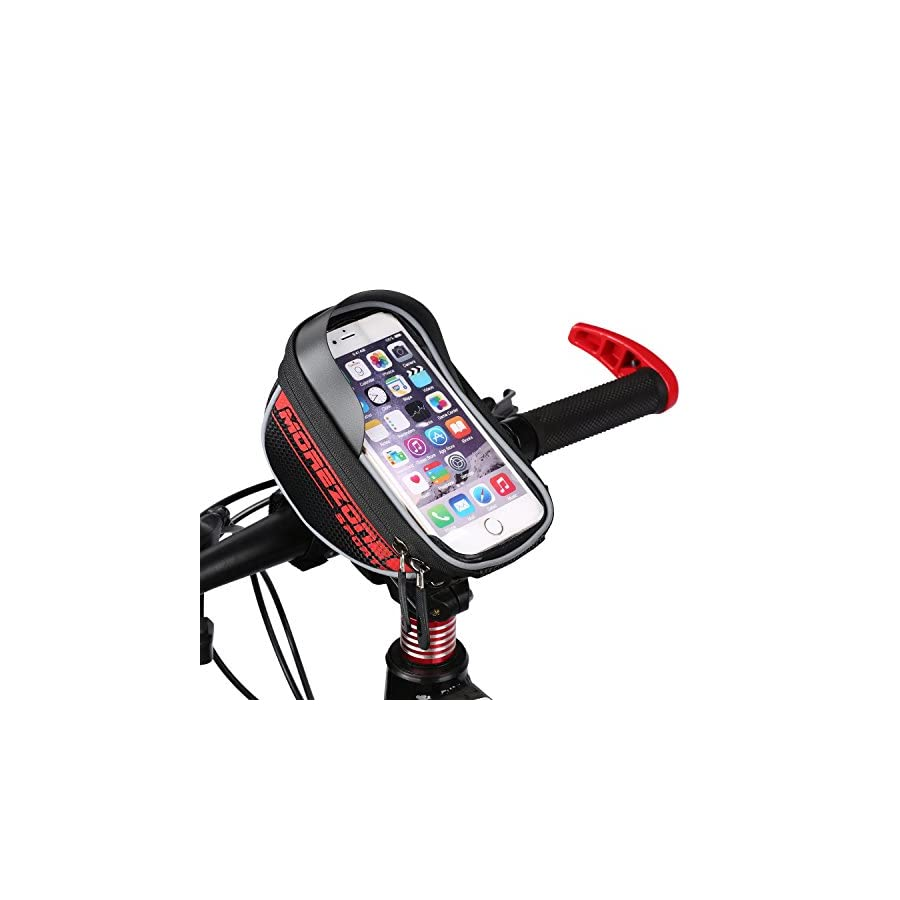 MOREZONE Bike Bag, Cycling Bicycle Frame Bags Phone Mount Holder For Cellphone Below 5.5 inch Top Tube Handlebars Bag