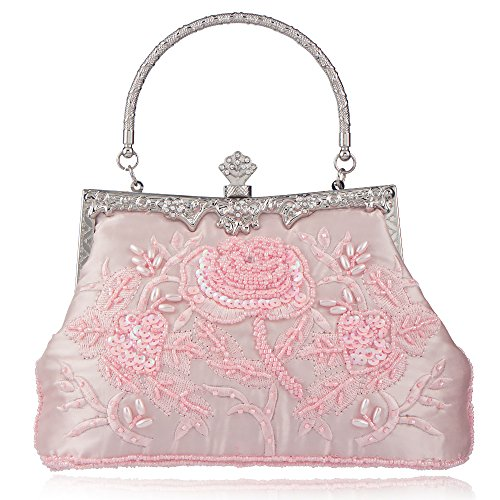 Bagood Women's Vintage Style Roses Beaded And Sequined Evening Bag Wedding Party Handbag Clutch Purse (Beaded Bag Pink Evening)